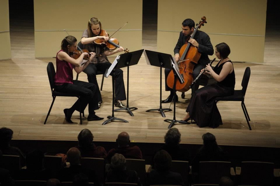Performing the World Premiere of Ryan Gallagher's Oboe Quartet in Ladd Concert Hall at Skidmore College (Saratoga Springs, NY) (photo by Charlie Samuels)