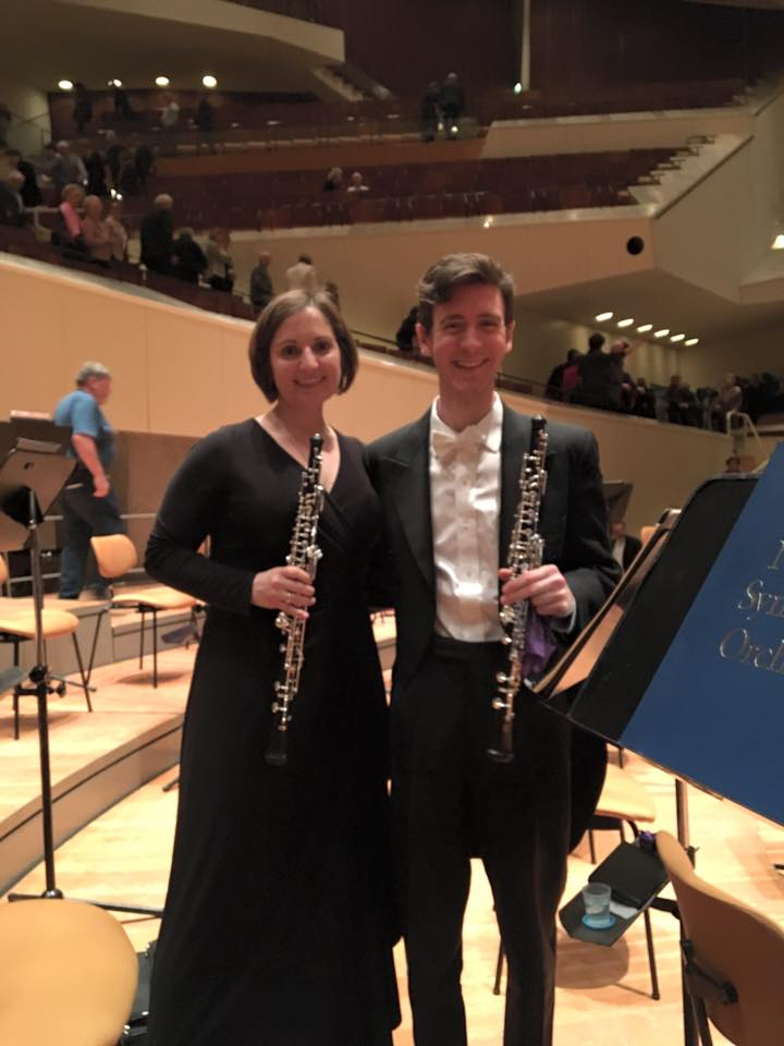 On stage at the Berlin Philharmonie following a concert with Nicholas Stovall, Principal Oboe of the National Symphony Orchestra (February 2016)