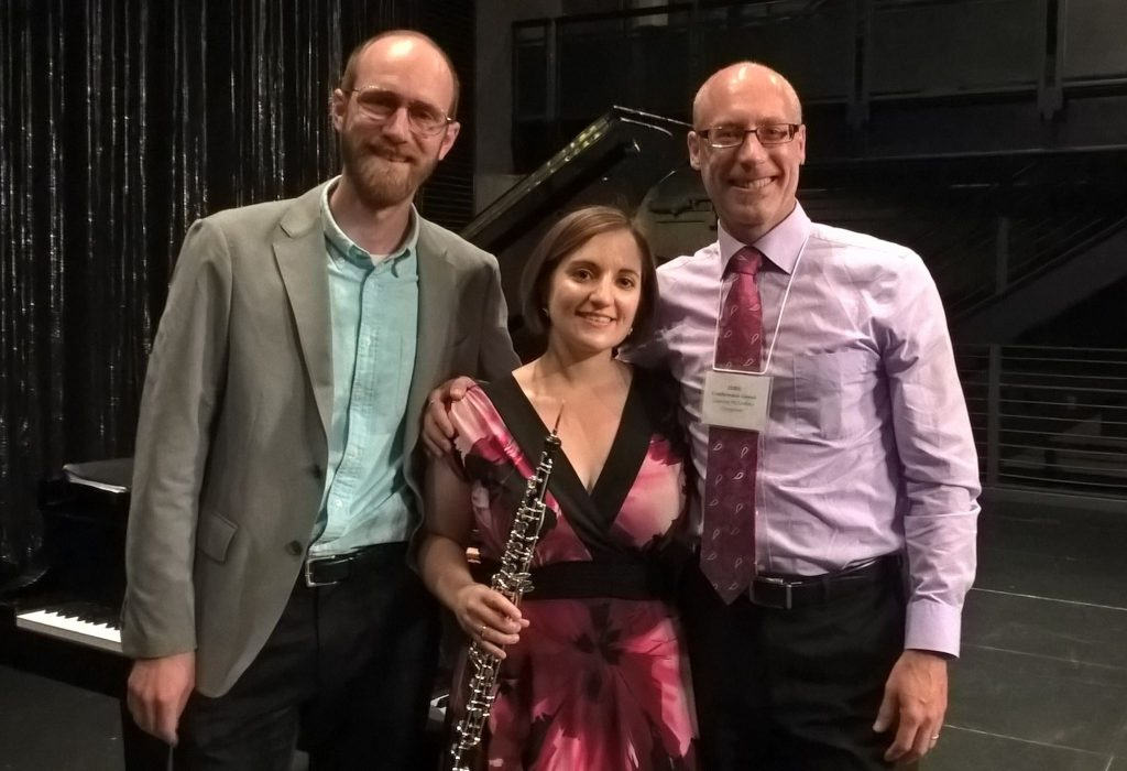 With pianist Jacob Coleman and composer Lansing McLoskey at the International Double Reed Society Conference in Columbus, GA (June 2016)